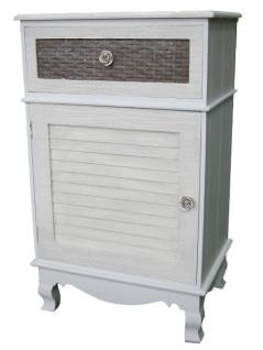 Casa Padrino Landhausstil Kommode Hellgrau / Braun 45 x 32 x H. 76 cm - Handgefertigte Kommode mit Tür und Schublade