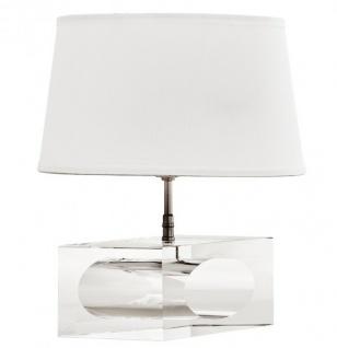 Massive Designer Tischleuchte mit Kristallfuss aus der Luxus Kollektion von Casa Padrino Weiß / Nickel Finish
