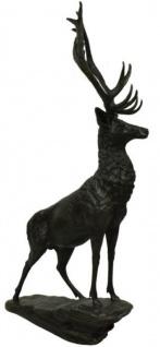 Casa Padrino Luxus Bronze Skulptur Hirsch auf Felsen Bronze / Schwarz 80 x 60 x H. 160 cm - Bronzefigur - Tierfigur - Hotel & Restaurant Deko Accessoires
