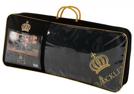Harald Glööckler Designer Seiden Luxus 3 Kammer Kopfkissen 80 x 80 cm Schwarz / Gold + Casa Padrino Luxus Barock Bleistift mit Kronendesign - Vorschau 3