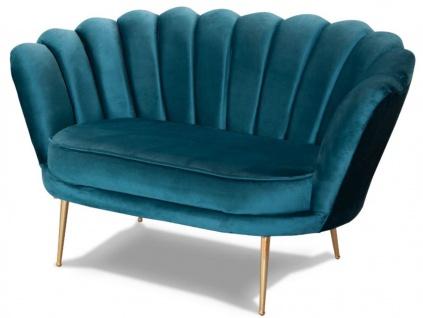 Casa Padrino Designer Art Deco Wohnzimmer 2er Sofa Türkis / Messingfarben 115 x 50 x H. 80 cm - Art Deco Wohnzimmer Möbel