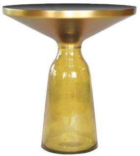 Casa Padrino Luxus Beistelltisch Schwarz / Gelb / Gold Ø 50 x H. 53 cm - Runder Glas Tisch - Moderne Wohnzimmer Möbel