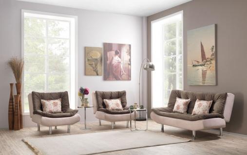 Casa Padrino Designer Sofa Set - Sofa + 2 Sessel - Creme / Olive / Chrom - Hotel Lounge Möbel
