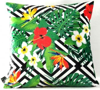 Casa Padrino Luxus Kissen Miami Flowers Schwarz / Weiß / Mehrfarbig 45 x 45 cm - Feinster Samtstoff - Wohnzimmer Deko Zierkissen