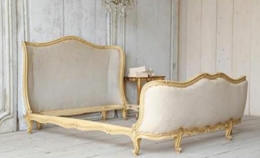 Casa Padrino Luxus Barock Doppelbett Creme / Gold - Massivholz Bett - Schlafzimmer Möbel im Barockstil - Edel & Prunkvoll