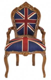Casa Padrino Barock Esszimmer Stuhl mit Armlehnen Union Jack / Braun - Antik Stil