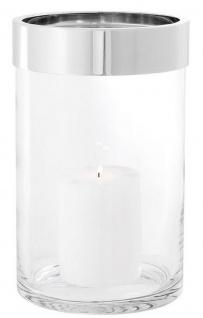 Casa Padrino Luxus Kerzenleuchter Silber Ø 20 x H. 31, 5 cm - Runder Glas Kerzenleuchter mit Aluminium Ring - Luxus Kollektion