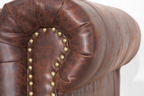 Chesterfield 3er Sofa Antikbraun aus dem Hause Casa Padrino - Wohnzimmer Couch Antik Braun - Vorschau 4
