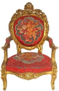 Casa Padrino Barock Thron Sessel Rot Blumenmuster / Gold 70 x 70 x H. 120 cm - Prunkvoller handgefertigter Königssessel - Hochzeitssessel - Barock Möbel