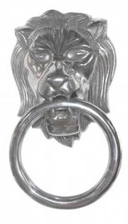 Casa Padrino Designer Löwenkopf Lion Handtuchhalter aus Aluminium vernickelt Höhe: 31 cm, Breite: 17, 5 cm, Tiefe: 10 cm - Wandfigur - Handtuchring - WC Bad Dekoration