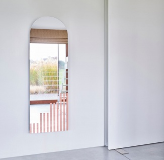 Casa Padrino Designer Wandspiegel Hellrosa Streifen 50 x 1 x H. 150 cm - Wohnzimmer Spiegel - Schlafzimmer Spiegel - Garderoben Spiegel - Designer Möbel