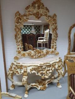 Casa Padrino Luxus Barock Spiegelkonsole Creme / Gold - Prunkvoller Massivholz Konsolentisch mit Marmorplatte und Wandspiegel - Barock Möbel