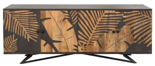 Casa Padrino Designer Kommode Sideboard 175 x 45 x H.75cm Fernsehschrank - Handgefertigt aus massivem Mangoholz!