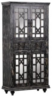 Casa Padrino Landhausstil Vitrine Vintage Schwarz 90 x 40 x H. 180 cm - Massivholz Schrank mit 4 verspiegelten Türen und 2 Schubladen - Vitrinenschrank - Landhausstil Möbel