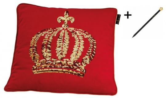 Harald Glööckler Designer Zierkissenhülle Krone mit Pailletten Rot / Gold 50 x 50 cm + Casa Padrino Luxus Barock Bleistift mit Kronendesign