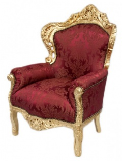 Casa Padrino Barock Sessel King Bordeaux Muster / Gold Mod2 - Möbel im Antikstil