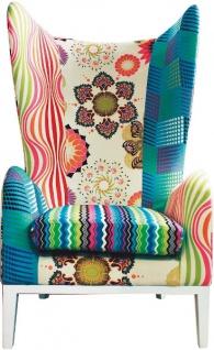 Casa Padrino Luxus Ohrensessel Mehrfarbig 82 x 81 x H. 134 cm - Designer Wohnzimmermöbel