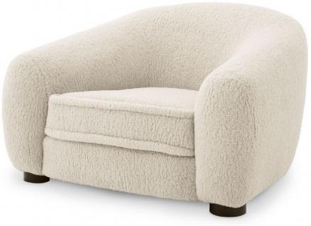 Casa Padrino Luxus Sessel Cremefarben / Schwarz 110 x 95 x H. 70 cm - Wohnzimmer Sessel mit gebogener Rückenlehne - Luxus Möbel
