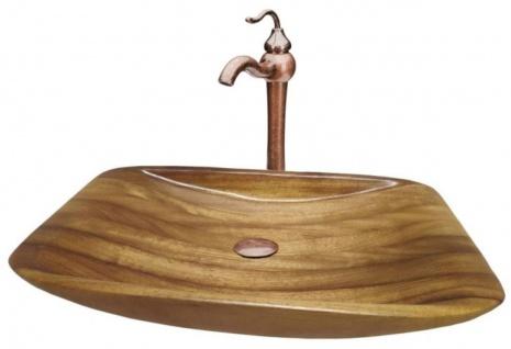 Casa Padrino Jugendstil Waschtisch Set 60 x 40 x H. 37, 2 cm - Retro Einhebel Wasserhahn mit antiker Marmoroberfläche und elegantem Tropenholz Waschbecken - Rustikales Bad Zubehör
