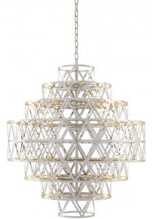Casa Padrino Luxus LED Kronleuchter Silber Ø 82 x H. 88, 5 cm - Runder Edelstahl Kronleuchter - Luxus Qualität