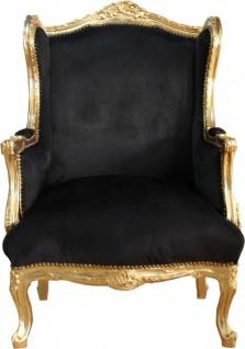 Casa Padrino Barock Lounge Thron Sessel Schwarz/Gold Mod2 - Ohren Sessel - Ohrensessel Tron Stuhl