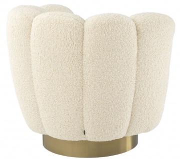 Casa Padrino Luxus Drehsessel Weiß / Messingfarben 95 x 83 x H. 83 cm - Wohnzimmer Sessel mit künstlichem Lammfell - Luxus Möbel - Vorschau 4