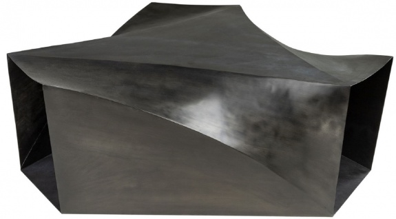Casa Padrino Designer Stahl Couchtisch Dunkelgrau 107 x 120 x H. 41 cm - Wohnzimmertisch - Designer Wohnzimmer Möbel