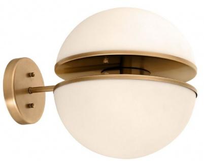 Casa Padrino Luxus Wandleuchte Antik Messingfarben / Weiß 30 x 40 x H. 30 cm - Hotel & Restaurant Lampe