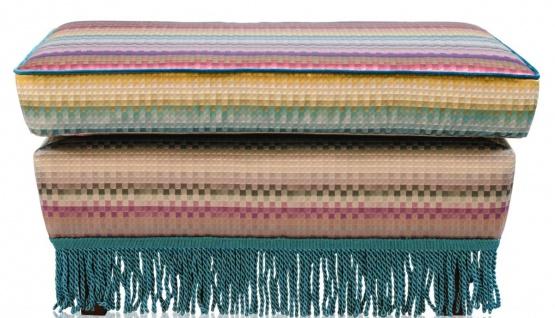 Casa Padrino Luxus Fußhocker Mehrfarbig 76 x 54 x H. 40 cm - Wohnzimmer Möbel