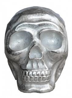 Casa Padrino Designer Skull Mod1S silber Höhe 13 cm, Breite 9 cm, Tiefe 16, 5 cm, Totenkopf - edle Skulptur aus Aluminium vernickelt - Vorschau 3