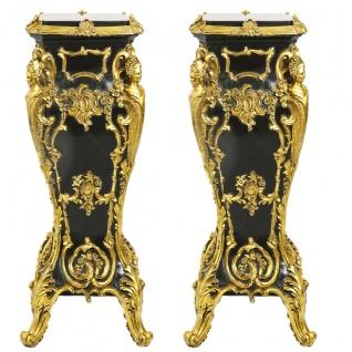 Casa Padrino Barock Marmor Säulen Set Gold / Schwarz 35 x 35 x H.85 - Marmor Säule (2 Stk) - Limited Edition