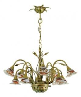 Casa Padrino Barock Schmiedeeisen Kronleuchter 10-Flammig Glas Hängeleuchte Lüster Hängelampe Deckenlampe - Burg Schloss Leuchter