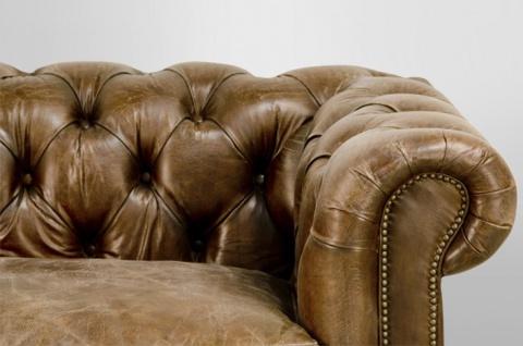 Chesterfield Luxus Echt Leder Sofa 3 Sitzer Vintage Leder von Casa Padrino Cigar - Vorschau 3