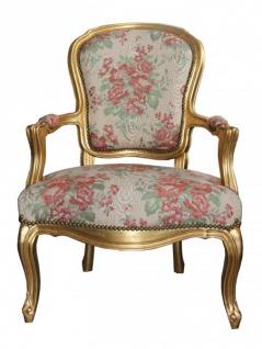 Casa Padrino Barock Salon Stuhl Creme/ Rot Blumen Muster / Gold