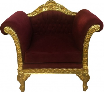 Casa Padrino Barock Lounge Sessel Bordeaux / Gold Möbel Antik Stil - Wohnzimmer Club Möbel Sessel - Limited Edition