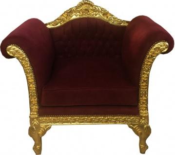 Casa Padrino Barock Lounge Sessel Bordeaux Rot / Gold Möbel Antik Stil - Wohnzimmer Club Möbel Sessel - Limited Edition