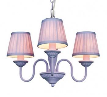 Barock Pendelleuchte mit Plissee-Schirm 3-Flammig, Lila Leuchte Lampe