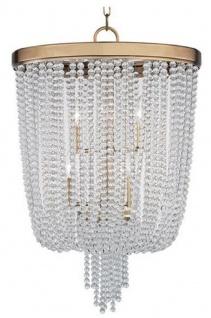 Casa Padrino Luxus Hängeleuchte Antik Messingfarben Ø 46, 4 x H. 70, 5 cm - Runde Pendelleuchte mit Kristallglas