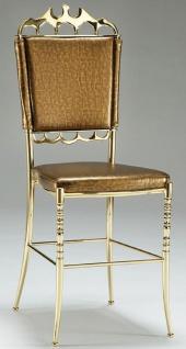 Casa Padrino Luxus Esszimmerstuhl Gold mit Muster - Edler Messing Küchenstuhl mit hochwertigem Leder - Esszimmer Möbel - Hotel Möbel - Restaurant Möbel - Luxus Qualität