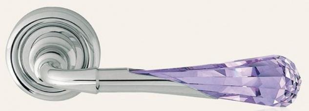 Casa Padrino Luxus Türklinken Set Silber / Lila 15 x H. 5 cm - Edle Messing Türgriffe mit Swarovski Kristallglas - Luxus Qualität