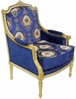 Casa Padrino Barock Lounge Thron Sessel mit elegantem Muster Royalblau / Rot / Weiß / Gold 70 x 70 x H. 100 cm - Barock Möbel