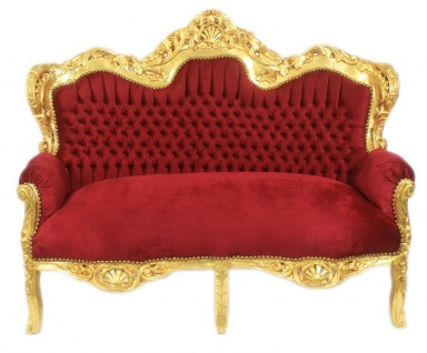 Casa Padrino Barock 2er Sofa Master Bordeaux / Gold - Möbel
