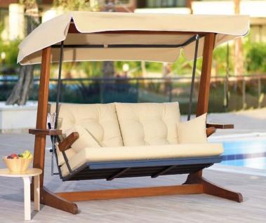 Casa Padrino Luxus Hollywood Schaukel Cremefarben / Braun - Moderne Wetterfeste Garten Schaukel mit Sonnendach - Garten Terrassen Hotel Möbel - Luxus Kollektion