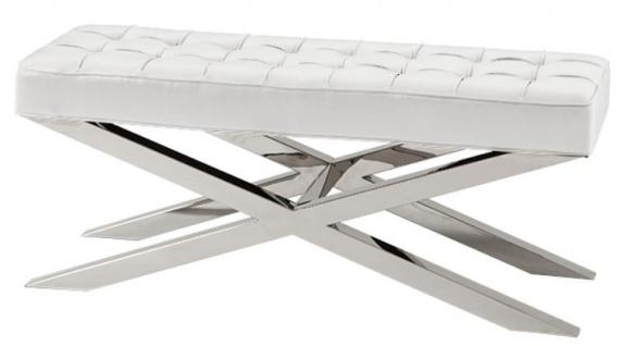 Casa Padrino Luxus Sitzbank in silber mit weißer Lederoptik 120 x 42, 5 x H. 53, 5 cm - Designermöbel