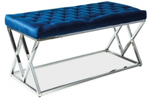 Casa Padrino Luxus Sitzbank Marineblau / Silber 100 x 48 x H. 46 cm - Gepolsterte Samt Bank mit verchromtem Edelstahl Gestell - Wohnzimmer Möbel