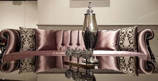 Casa Padrino Luxus Barock Chesterfield Sofa Rosa / Schwarz - Prunkvolles Wohnzimmer Sofa - Barock Wohnzimmer Möbel - Luxus Qualität