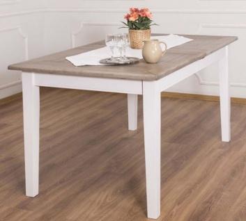 Casa Padrino Landhausstil Esstisch Braun / Weiß 160-200 x 90 x H. 78 cm - Massivholz Küchentisch mit ausziehbarer Eichenholz Tischplatte