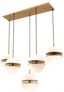 Casa Padrino Hängeleuchte Antik Messing / Weiß 130 x 50 x H. 190 cm - Luxus Hängelampe