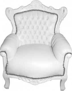 Casa Padrino Barock Kinder Sessel / Thron Weiß/Weiß