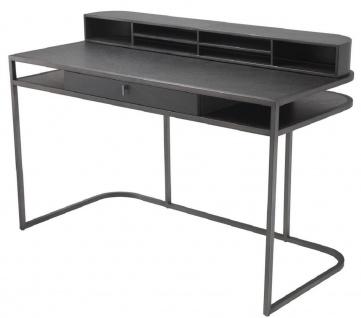 Casa Padrino Luxus Schreibtisch mit Schublade und abnehmbaren Regalaufsatz Dunkelgrau 130 x 60 x H. 75 cm - Büromöbel